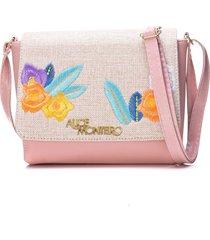 bolsa alice monteiro com tampa bordado floral rosa - kanui