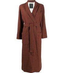 canessa longline wrap coat - brown