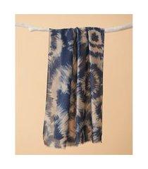 lenço estampado - lenço madison cor: azul - tamanho: único