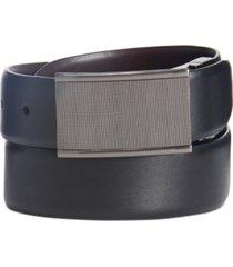 perry ellis men's textured plaque-buckle belt