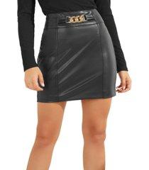 guess chain-trim faux-leather mini skirt