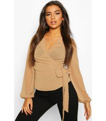 wrap over dobby mesh blouse, nude