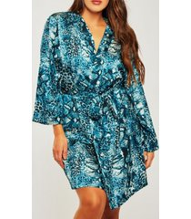 icollection plus size ultra soft print wrap robe, online only