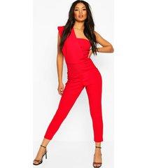 one shoulder skinny leg jumpsuit, red