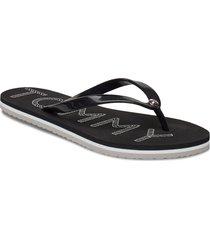 tommy footbed flat b shoes summer shoes flip flops svart tommy hilfiger