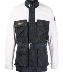 belstaff belted multi-pocket jacket - blue