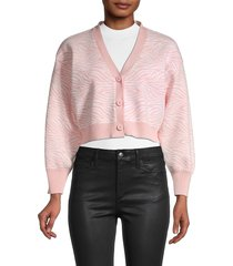 bcbgeneration women's zebra-print cardigan - pale pink - size m