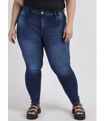 calça jeans feminina plus size sawary cigarrete levanta bumbum cintura alta azul escuro