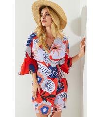 vestido con cuello en v profundo con diseño de abrigo anudado floral multicolor de yoins