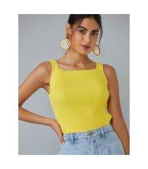 amaro feminino regata tricot decote quadrado, amarelo