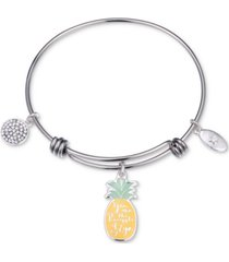 """unwritten """"you are the pineapple of my eye"""" enamel bangle bracelet in stainless steel"""