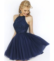 halter short beaded open back ball gown navy blue tulle prom homecoming dress