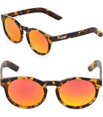 aqs women's benni 49mm round sunglasses - havana red
