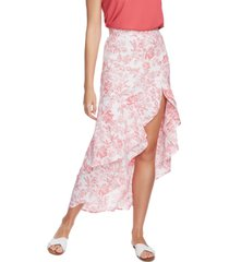 1.state porcelain floral-print ruffled skirt