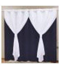 cortina blackout pvc c/ voil azul marinho corta luz 2,80m x 2,30m
