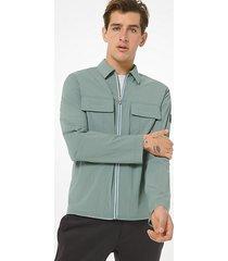 mk giacca a camicia in nylon - foresta (verde) - michael kors