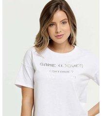 camiseta estampa metalizada marisa manga curta feminina - feminino