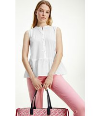 tommy hilfiger women's sleeveless cotton voile top optic white - 4