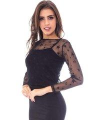 blusa moda vicio manga longa tule estrela preto