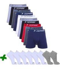 kit cuecas boxer + pares de meia sport dorbe