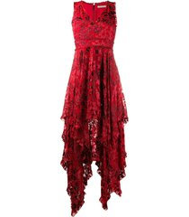alice+olivia sammi floral cocktail dress - red