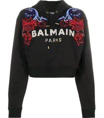 balmain crystal logo embellished hoodie - black