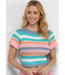 blusa allexia canelada multi color manga curta babado feminina