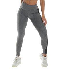 calça  click mais bonita legging bicolor fitness suplex cinza