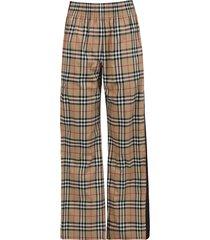 check print side stripe pants, archive beige