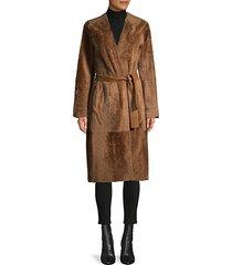 belted shearling long coat