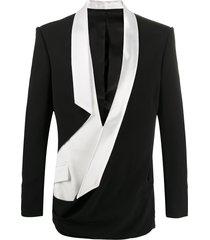 balmain draped tailored blazer - black