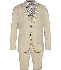 cotton linen suit pak beige lindbergh