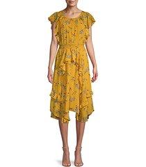 polk dot & floral-print ruffle dress