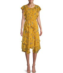 polk dot & floral-print ruffle dress