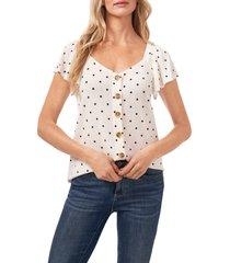 cece dot flutter sleeve knit top, size large in soft ecru at nordstrom