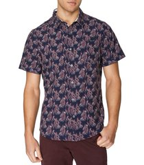 7 diamonds ticket to ride abstract print short sleeve button-up shirt, size xx-large in navy at nordstrom
