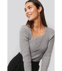 na-kd trend ribbed asymmetric sweater - grey