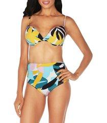 tahari women's poptomistic bikini top - mustard multicolor - size xl