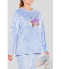pack pijama mas pantuflas busy gris azulado baziani