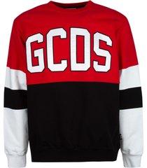 gcds colourblock stripe detail logo sweatshirt