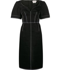 alexander mcqueen contrast stitching fitted dress - black