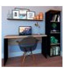 conjunto de mesa com estante e prateleira de escritório corp preto e carvalho mel