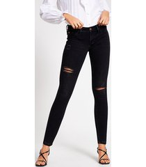 river island womens black comfy low rise ripped jegging