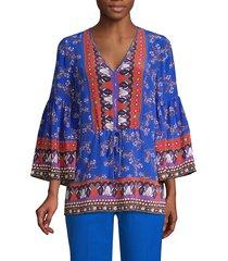 kobi halperin women's mina printed silk tunic - azure multicolor - size m