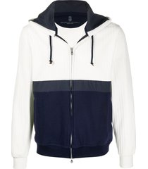brunello cucinelli two-tone zipped hoodie - white