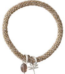 armband a beautiful story jacky multi color smokey quartz silver bracelet
