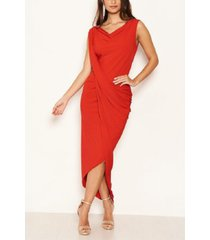 ax paris women's cowl neck ruched maxi dress
