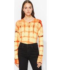 proenza schouler tie dye long sleeve t-shirt tangerine/white/blk/yellow xs