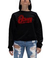 women's david bowie logo word art crewneck sweatshirt