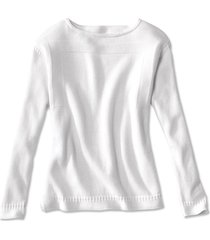 cotton/cashmere boatneck sweater, white, x large